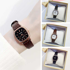 leather square Small dial watch Fashion Women dress Wrist watches minimalist female clock hours Black and white one size