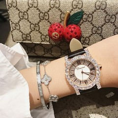 Top Luxury ladies Watch Women New Diamond Watches Fashion Leather Woman Watch Elegant Female Clock black one size