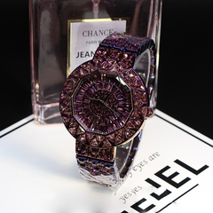 Top Quality Women Watches Luxury Steel Full Rhinestone Wristwatches Lady Crystal Dress watch purple one size