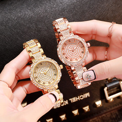 Fashion casual steel belt watch starry watch ladies watch Roman scale gold tri-color quartz watch rose gold one size
