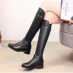 2019 British wind flat boots with flat round head high boots belt buckle women's shoes women's boots black 34
