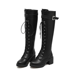 British wind thick platform boots round head high boots belt buckle women's shoes women's boots black 34