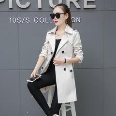 New slim women's windbreaker large size long double-breasted coat coat women's clothing white m