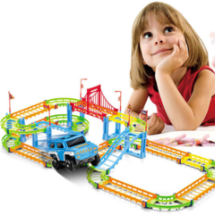 Children's toy electric track car hundred variable double speed track car puzzle toys one color one size