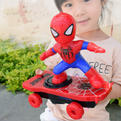 Spiderman stunt scooter electric universal spin roll music light children's cartoon toy one color one size