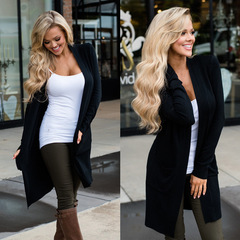 Women's elegant cardigan knit monochrome pocket trench coat slim fashion sexy jacket Black S