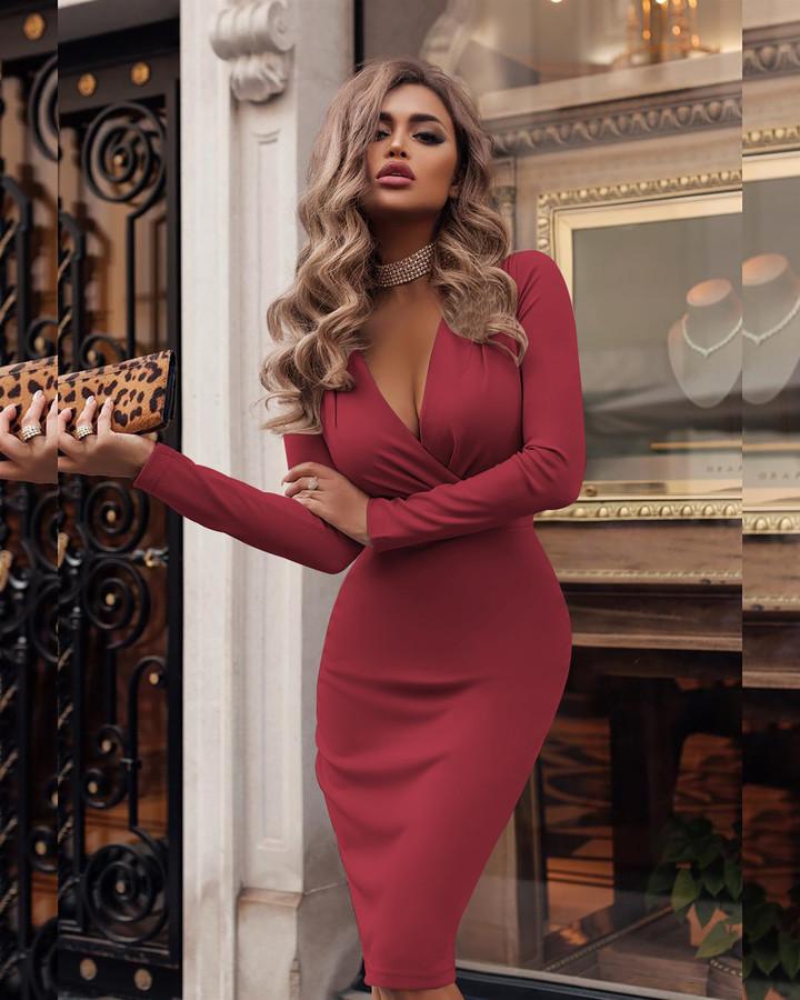 1PCS New Fashion Women  Ladies Long Sleeves Deep V Sexy  Dress s wine red