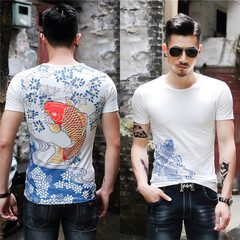 1PCS New Fashion Chinese Style Big Fish Men  Short  Sleeves T-Shirt white xxl