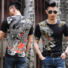 1PCS New Fashion Chinese Style Dragon Men  Short  Sleeves T-Shirt BLACK M