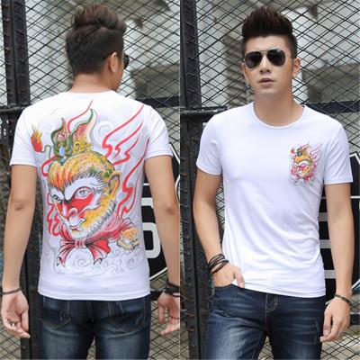 1PCS New Fashion Chinese Style WuKONG Men  Short  Sleeves T-Shirt white xl