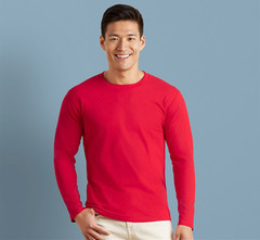 1PCS Soft And Comfortable And Breathable Cotton Long Sleeves Men T-Shirt RED XS COTTON