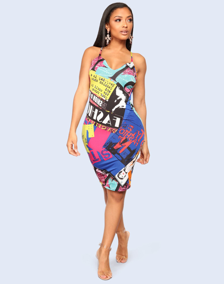 1PCS Women Ladies Printed Sleeveless Aiguillette Backless Sexy Dresses xxl As picture
