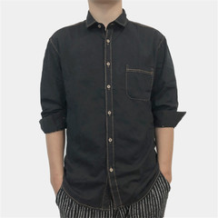 1PCS Men Shirt Jean Long Sleeves Shirt black m