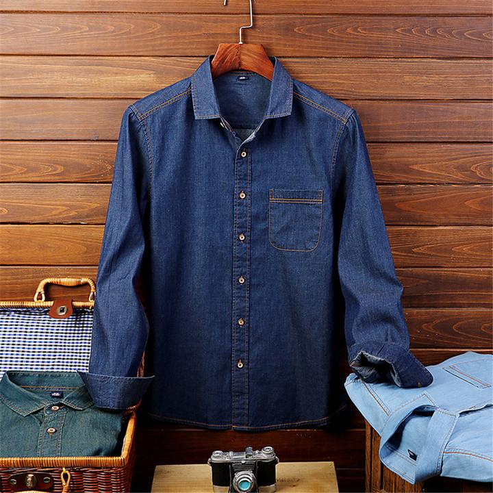 1PCS Men Shirt Jean Long Sleeves Shirt mazarine l