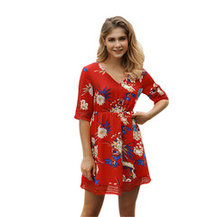 1PCS Women Ladies Printed Middle Sleeve Holiday Style Short Dresses s red