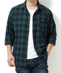 1PCS Men  Long Sleeves Plaid Casual Shirt green l