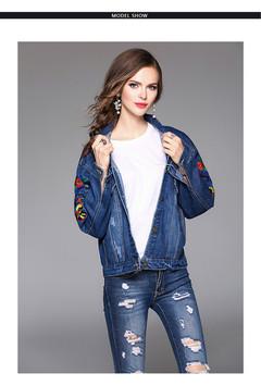 1PCS Women Ladies Embroidered Denim Coat Jacket Blue Average