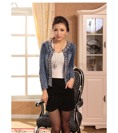 1PCS Women Ladies Sequin Short Denim Coat Jacket blue M