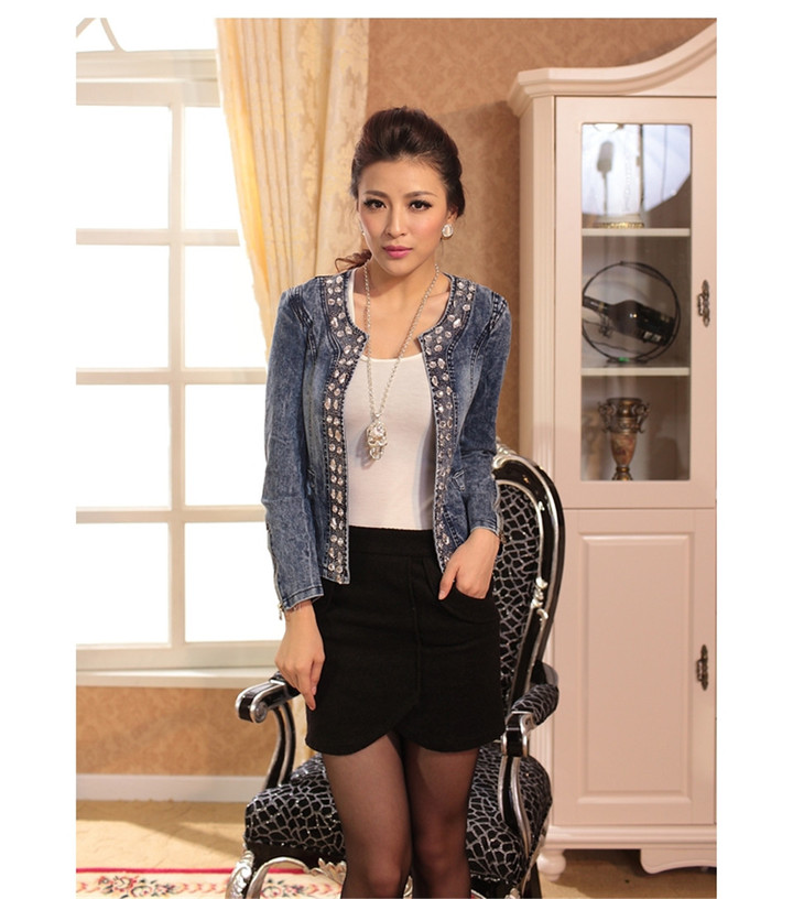 1PCS Women Ladies Sequin Short Denim Coat Jacket blue 4XL
