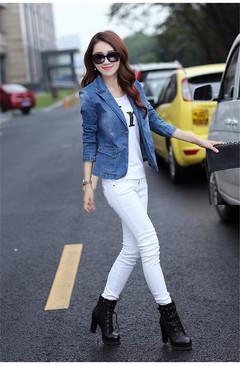 1PCS Women Ladies Skinny Denim Jacket Little Suit blue s