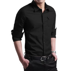 1PCS Men Long Sleeves Business or Casual Cotton Shirt black m