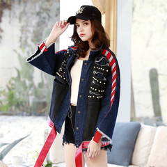 1PCS New Fashion Women Ladies Loose Jean Jacket Coat With Pearls And Tape blue s