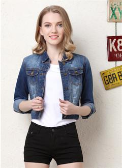 1PCS New Fashion Women Ladies Short Embroidered Denim Jacket blue m