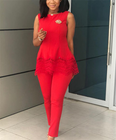 Women Ladies Lace Vest Commuter Suit red M