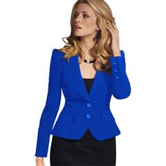 1PCS Women Ladies Skinny Jacket Little Suit blue s