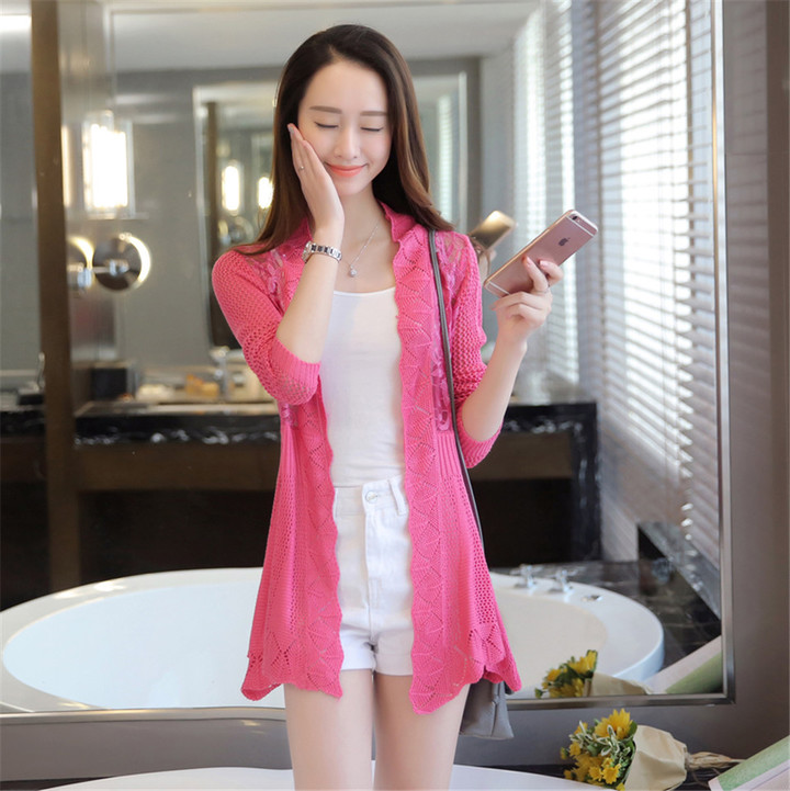 New Fashion Women Ladies Cut-out Embroidered Knitted Cardigan rose red average