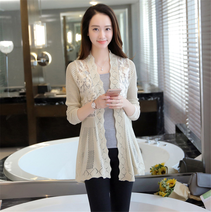 New Fashion Women Ladies Cut-out Embroidered Knitted Cardigan creamy white average