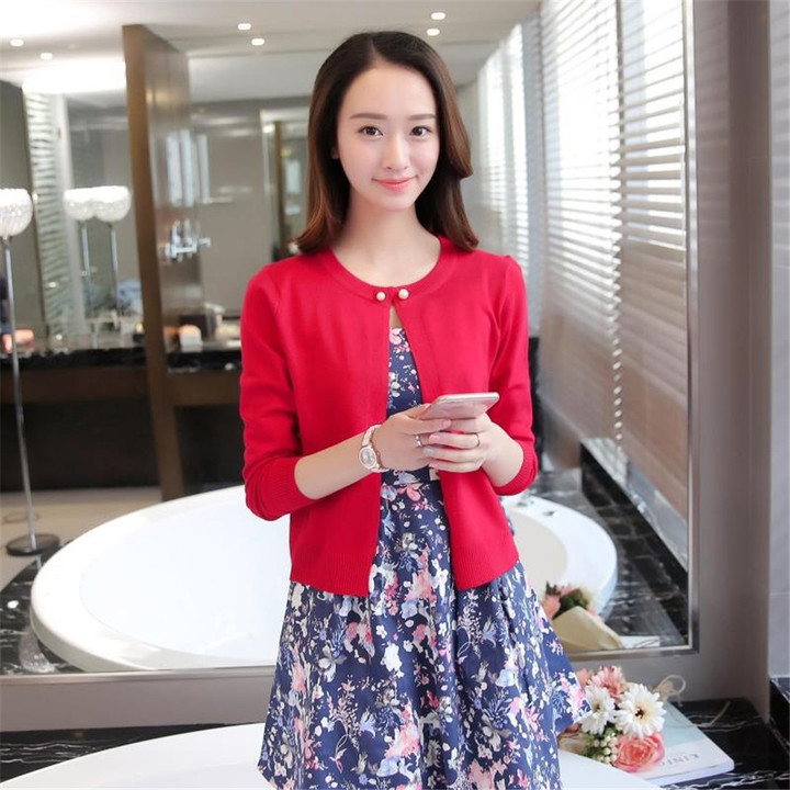 New Fashion Women Ladies Knitted Jacket Cardigan red average