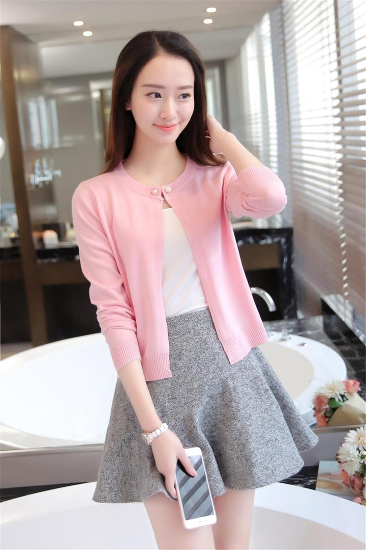 New Fashion Women Ladies Knitted Jacket Cardigan pink average