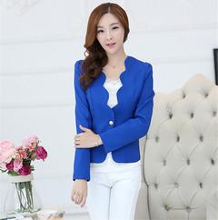 Women Ladies Decorative Border Single Buckle Small Suit Coat blue s
