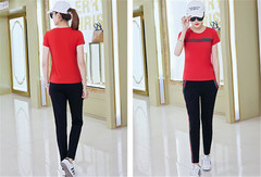 Women Ladies Short-sleeved Leisure Suit Two-piece Set red m