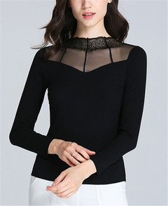 Women Ladies Body-trimming Lace Long-sleeved T-shirt black m