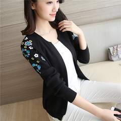 Women Ladies Sweetly Embroidered Long-sleeved Knitted Cardigan Small Shawl Jacket black average