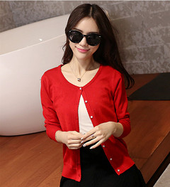 Women Ladies Cut-out Thin Knitted Cardigan rose red s