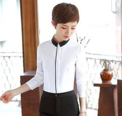 Women Ladies Long-sleeved Shirt Workplace Shirt white s