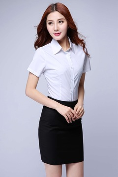 Women Ladies Short-sleeved Shirt Workplace Shirt white s