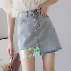 Women Ladies Fashion Paillette Water Scrubbed Denim Skirt blue s