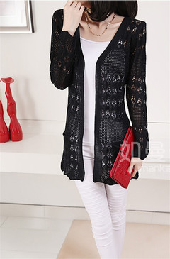 Women Ladies Hollow Long Knitted Cardigan black s