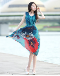 Women Ladies Chiffon Seaside Vacation Style Printed Dresses s as picture