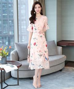 Chiffon Printed V-collar Short-sleeved Dress s pink