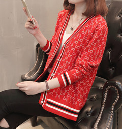 Women Ladies Long-sleeved printed knitted cardigan red average