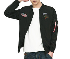 Men Jacket, Baseball Suit ,Air Force Flight Suit. BLACK M