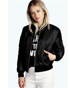Women Ladies Solid color fashion zipper vertical collar jacket coat black s