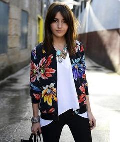 Women Ladies Long sleeve zipper printed short coat AS PICTURE s