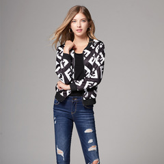 Women Ladies Long-sleeved printed body-trimming Coat Jacket as picture s