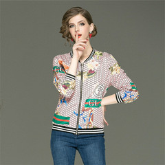 Women Ladies Long-sleeved printed Fashion Coat Jacket as picture m